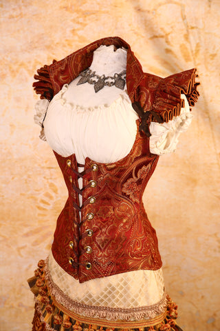 Coppery Orange Ruffle Sleeve Vixen Corset - RJ2