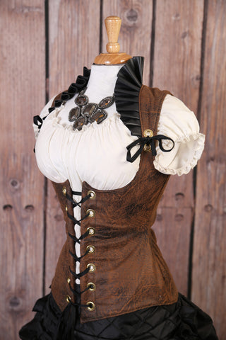 Bomber Brown Faux Leather Vixen Corset w/ Black Ruffle Collar
