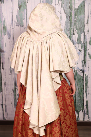 Cascading Cloak in Cream Damask