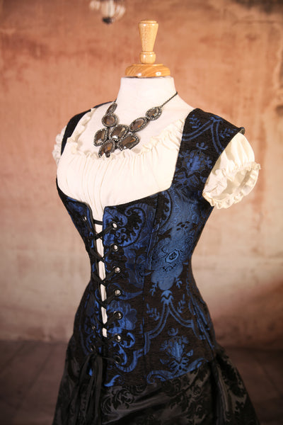 Black and Blue Medallion Damsel Corset