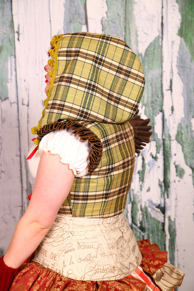 Detachable Hood in Wintergreen Plaid with Pom Pom Trim