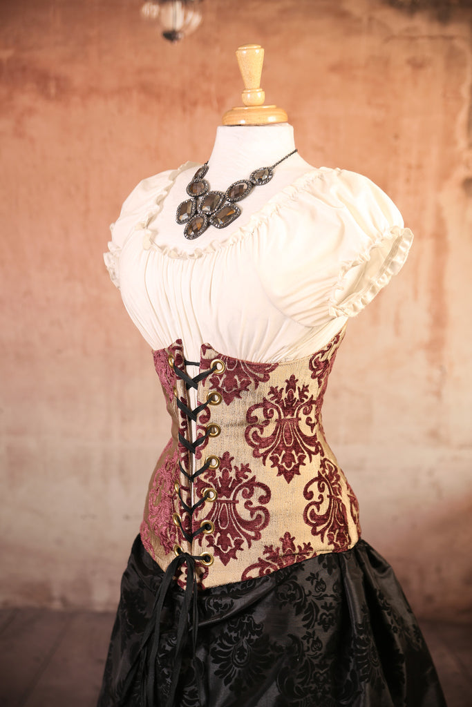 Plum and Cream Medallion Wench Corset