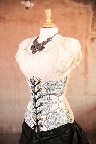 Ice Flower with Pinstripe Back Panel Wench Corset