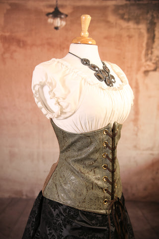 Green Paisley Faux Leather Wench Corset with Brown Back Panel