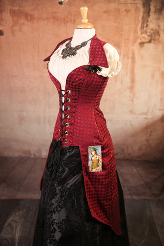 Deluxe Peacock Tailed Pirate Corset-Burgundy Small Diamonds