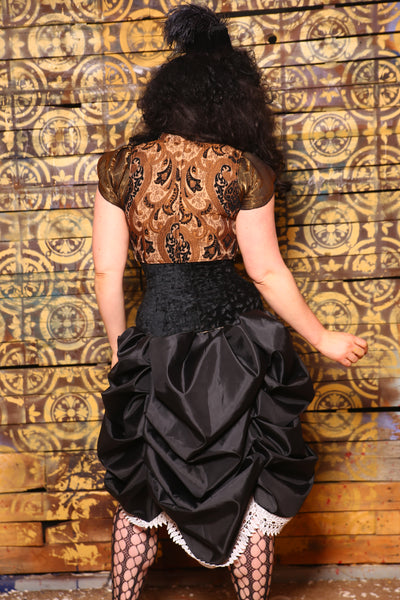 Cropped Courtier in Black and Bronze Vintage Paisley