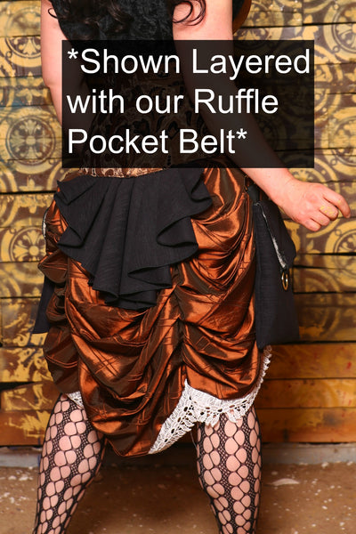 Mini Length Bustle Skirt in Copper Pintuck with Ivory Lace Trim