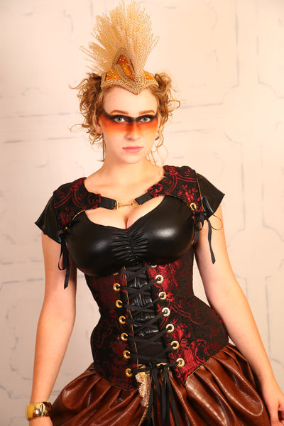 Red and Black Medallion Freya Corset - RC2