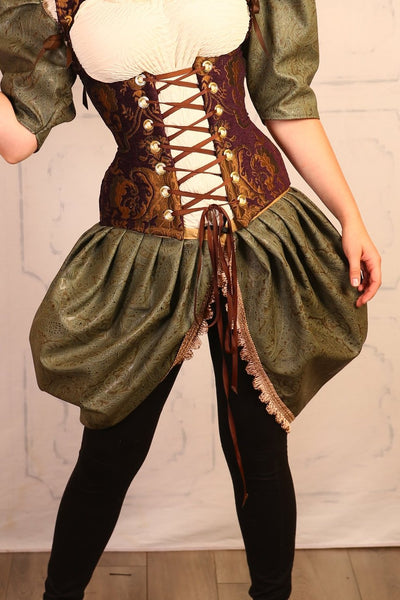 Green Paisley Faux Leather Hockety Pockety Skirt Set - NF/P