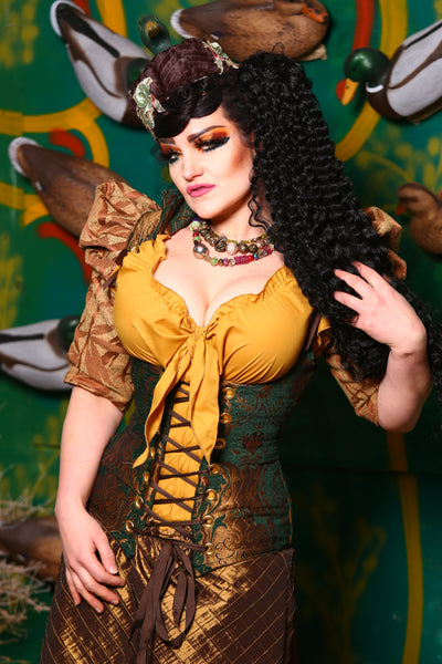 Vixen Corset in Emerald and Gold Medallion