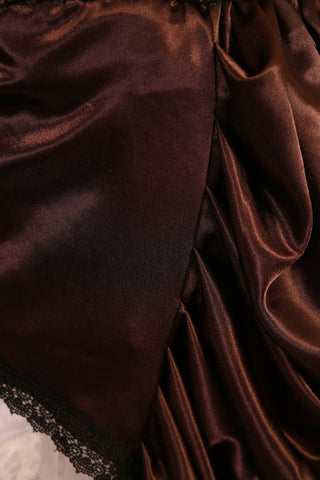 Chocolate Brown Satin Knee-length Bustle Skirt with Trim - RF2/NF