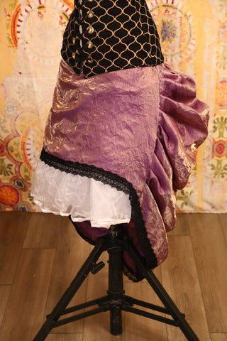 Iridescent Crushed Mini-length Bustle Skirt with Trim - RF2/NF