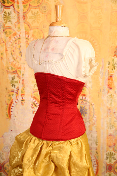 Quilted Red with Steampunk Trim Wench Corset - RB2