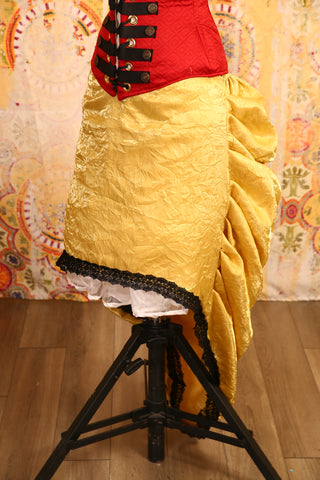 Crushed Gold Knee-length Bustle Skirt with Trim - RF2/NF