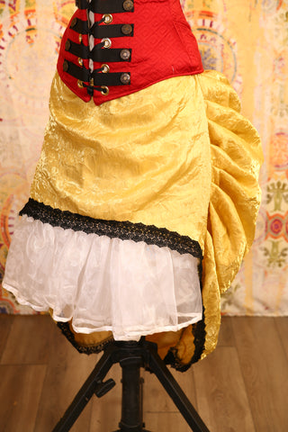 Crushed Gold Mini-length Bustle Skirt with Trim - RF2/NF