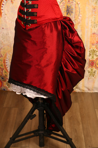 Red Brick Knee-length Bustle Skirt with Trim - RF2/NF