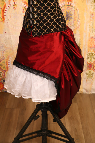Brick Red Mini-length Bustle Skirt with Trim - RF2/NF
