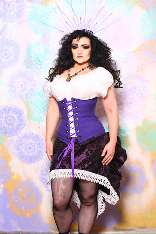 Wench Corset in Willy Wonka Church Fabric