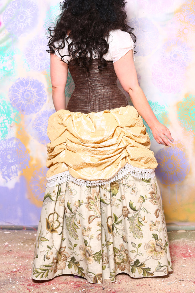 Mini Length Chandelier Bustle Skirt in Shortbread Pintuck Taffeta