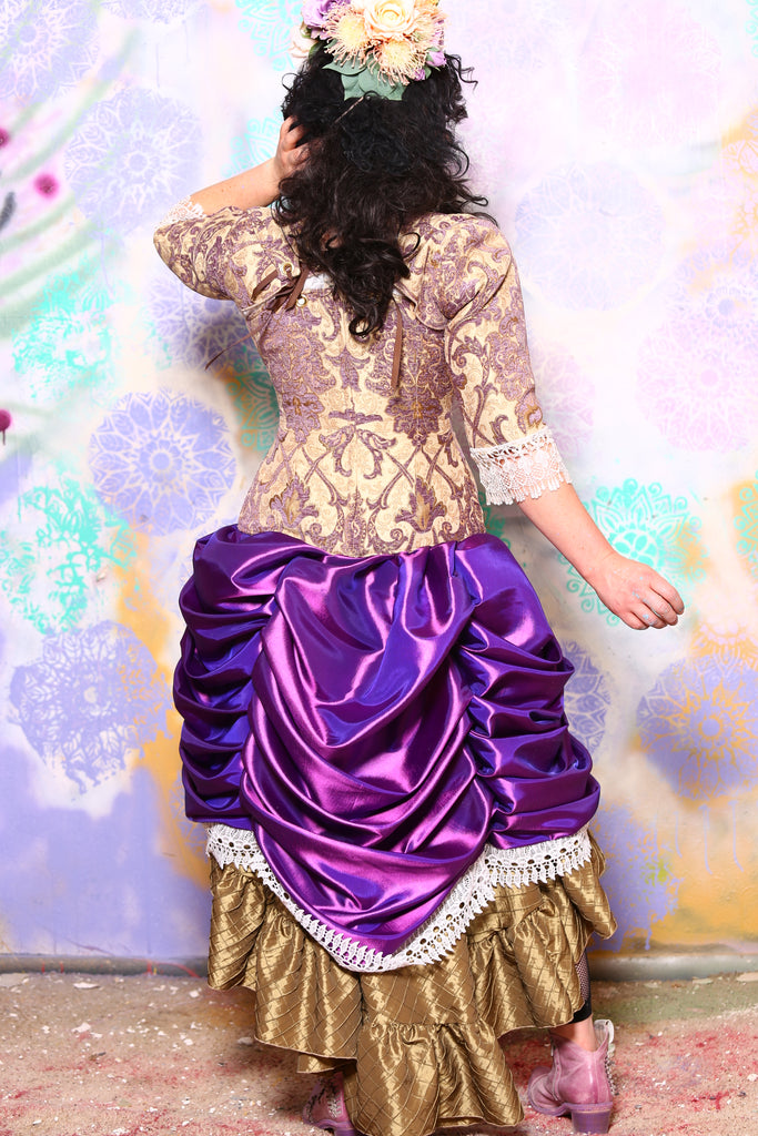 Mini Length Chandelier Bustle Skirt in Amethyst