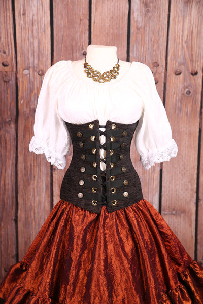 Torian Corset in Black Walnut with Buttons and Trim