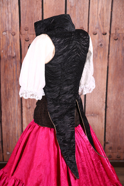 Empire Tailed Corset in Black Tendrils