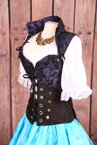 Empire Tailed Corset in Purple & Black Medallion
