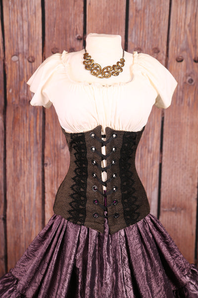 Torian Corset in Charcoal with Black Lace