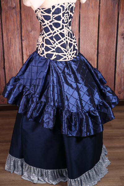 Salsa Skirt in Navy Blue Pintuck Taffeta