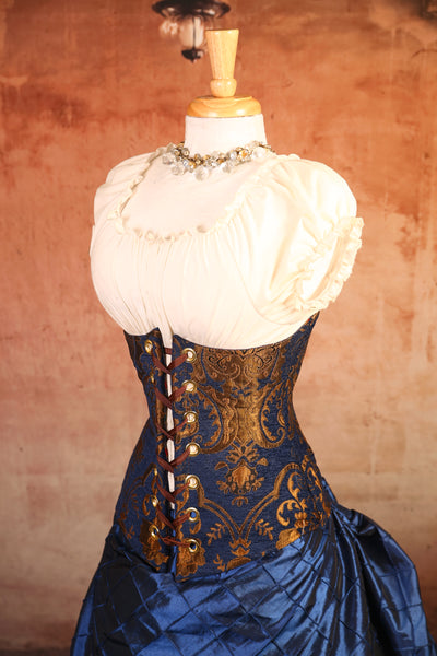 Blue & Gold Medallion Wench Corset - RG2