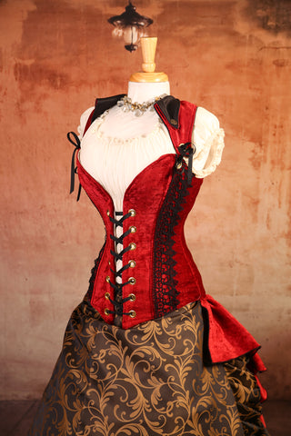 Red Velvet with Lace Peplum Overbust Voyager Corset - RE1