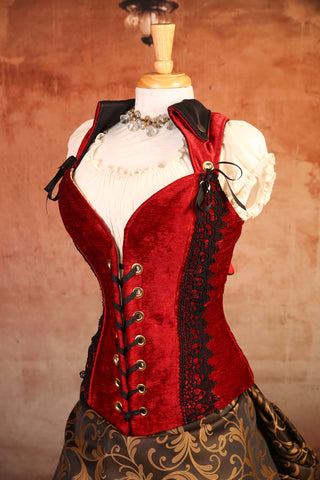 Red Velvet with Lace Overbust Voyager Corset - RA2