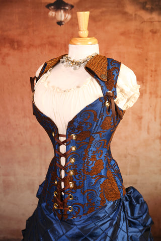 Cerulean Penny Medallion Overbust Voyager Corset - RA1