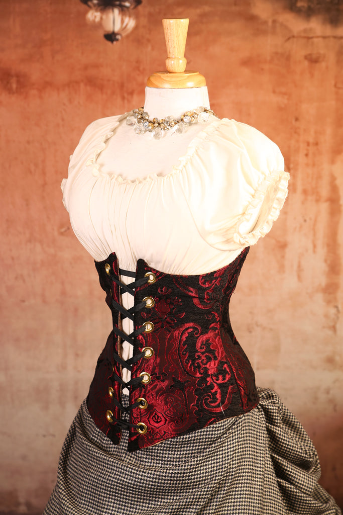 Red & Black Medallion Wench Corset - RG2