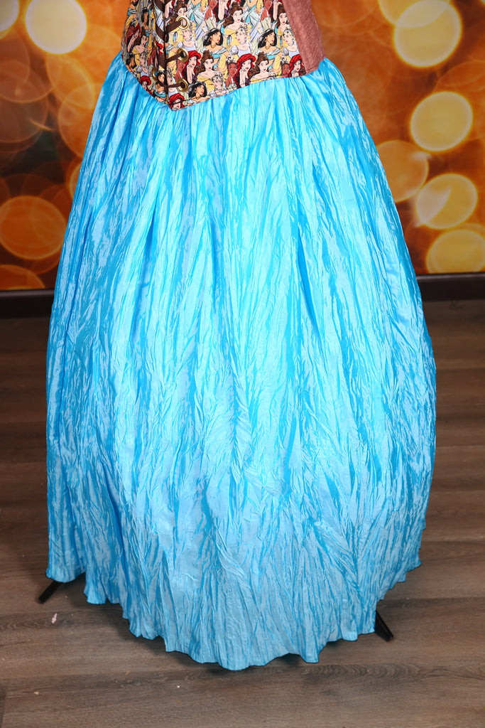 Drawstring Skirt in Sky Blue Crushed Taffeta
