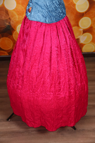 Drawstring Skirt in Fuchsia Crushed Taffeta