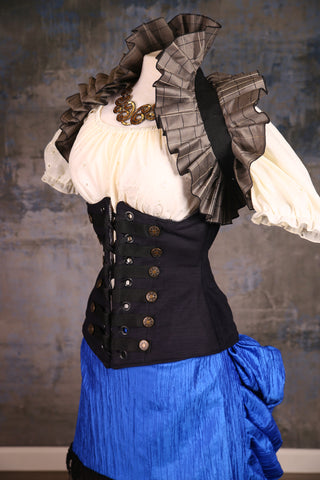 Wench Corset in Matte Black Chenille with Buttons and trim