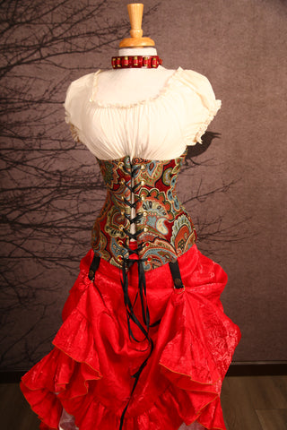 Red Multi-Faceted Floral Wench Corset - RB3