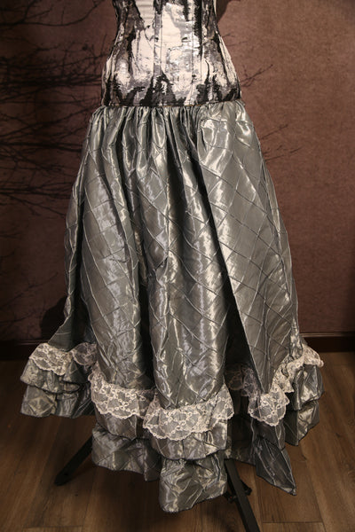 Silver Pintuck Super Frilly Carousel Skirt w/ Free Skirt Hikes - RH2