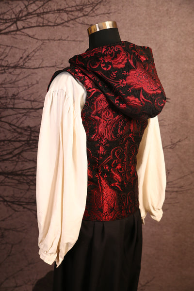 Red & Black Medallion Men's Hooded Flynn Vest - RD2