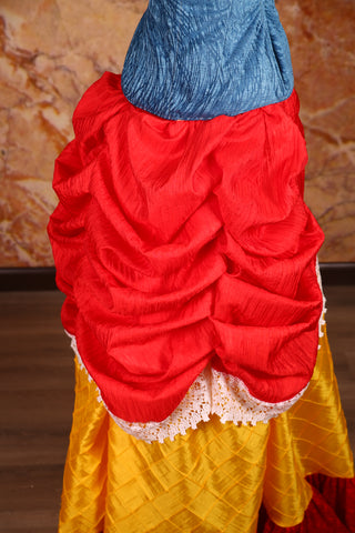 Mini Length-Chandelier Bustle Skirt in Scarlet Red Crushed Taffeta with Lace