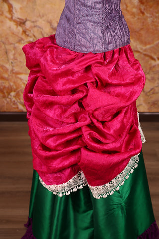 Mini Length-Chandelier Bustle Skirt in Fuchsia Iridescent Taffeta with Lace