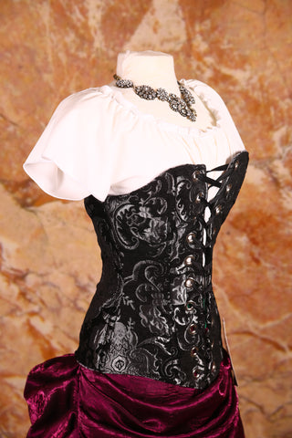 Aurora Corset in Black and Silver Medallion with Silver Grommets