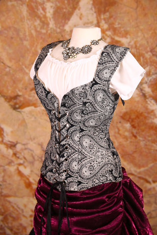 Damsel Corset in Black and White Paisley