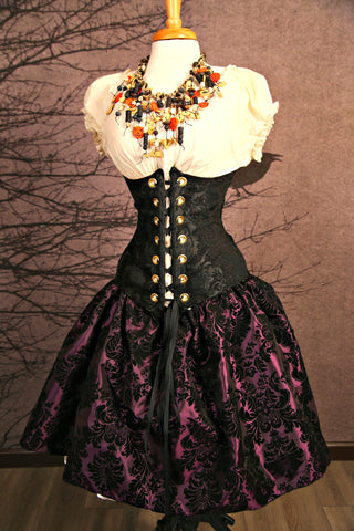 Black and Plum Damask Oktoberfest Skirt - RI2
