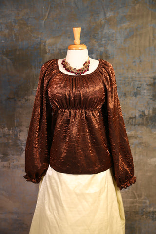 Copper Penny Long-Sleeve Blouse - UNK