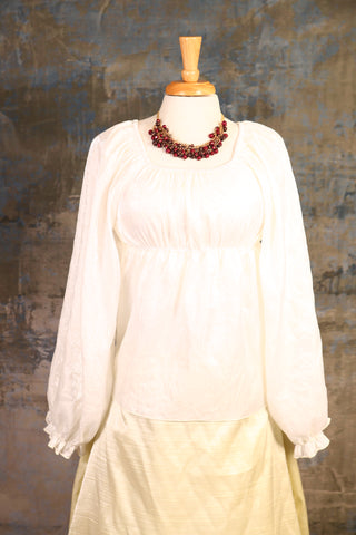 White Long-Sleeve Blouse - UNK