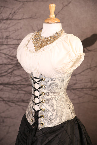Black & Silver Fine Floral Paisley Wench Corset
