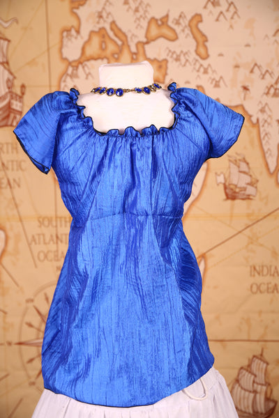 Emma Blouse in Royal Blue Crushed Taffeta