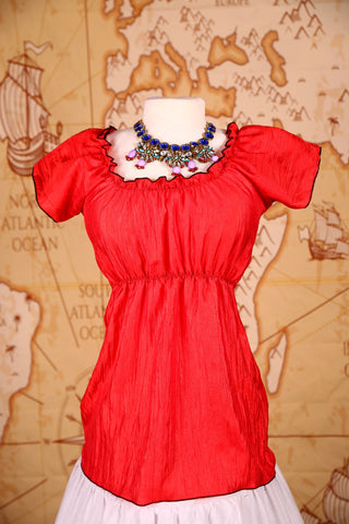 Emma Blouse in Crushed Scarlet Taffeta